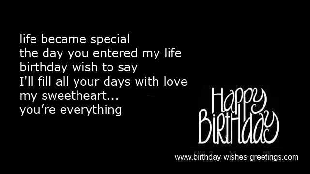 birthday romantic sms message wife